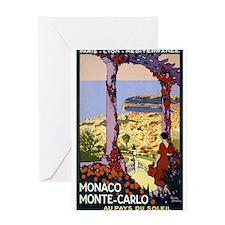 Antique Monaco Land of Sun Travel Poster Greeting