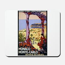 Antique Monaco Land of Sun Travel Poster Mousepad