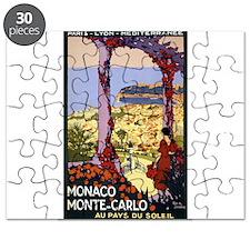 Antique Monaco Land of Sun Travel Poster Puzzle