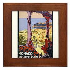 Antique Monaco Land of Sun Travel Poster Framed Ti