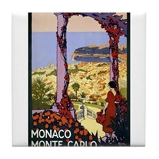 Antique Monaco Land of Sun Travel Poster Tile Coas