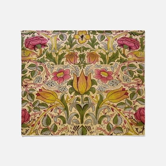 Morris Flowers and Birds design Throw Blanket