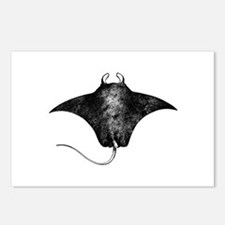 Manta Ray Logo (line art) Postcards (Package of 8)