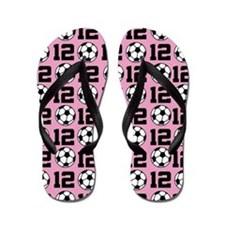 Soccer Ball Player Number 12 Flip Flops