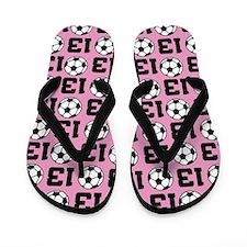 Soccer Ball Player Number 13 Flip Flops