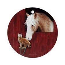 Horse & Kitten Ornament (Round)