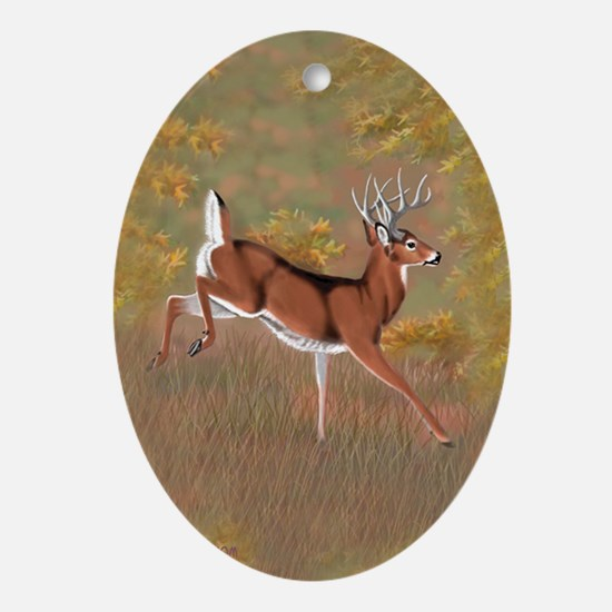 Whitetail Buck Oval Ornament