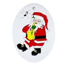 Santa Plays Sax Oval Ornament