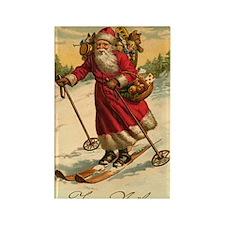 Santa on Skis Vintage Christm Rectangle Magnet