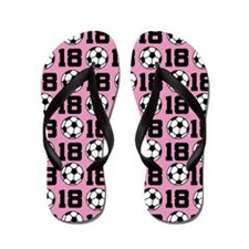 Soccer Ball Player Number 18 Flip Flops