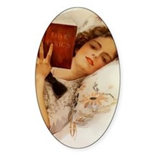 Fisher Girl Reader Lady Vintage Oval Decal