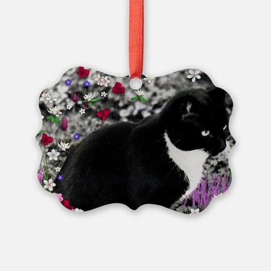 Freckles Tux Cat Flowers II Ornament