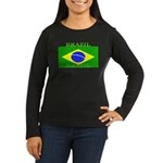 Brazil Brazilian Flag Womens Sleeved Brown T-Shirt
