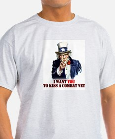Kiss a Combat VET!  Ash Grey T-Shirt