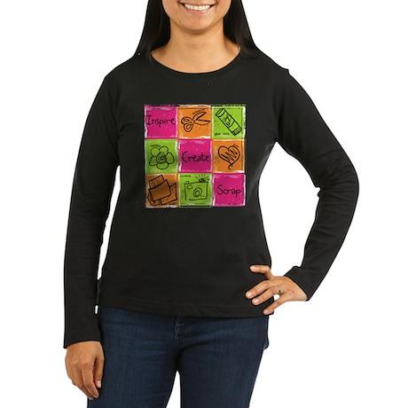 Scrapbook Doodle Women's Long Sleeve Brown T-Shir