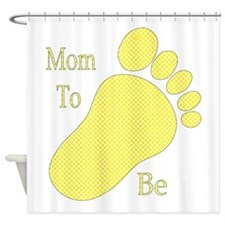 Mom To Be Yellow Footprint Shower Curtain