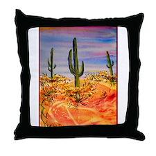 Saguaro cactus, desert art Throw Pillow