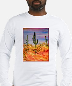Saguaro cactus, desert art Long Sleeve T-Shirt