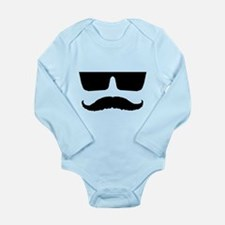 Cool mustache and glasses Long Sleeve Infant Bodys