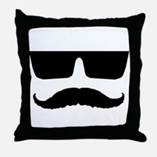 Cool mustache and glasses Throw Pillow