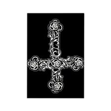Inverted Cross And Roses Rectangle Magnet
