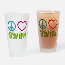 Peace Love Swim Drinking Glass