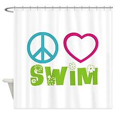 Peace Love Swim Shower Curtain