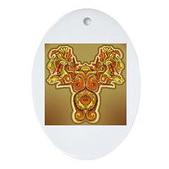 Golden Quetzalcoatl Oval Ornament