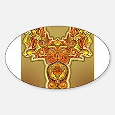 Golden Quetzalcoatl Oval Decal