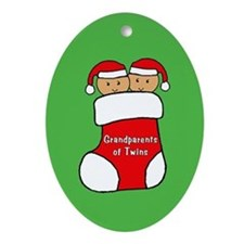Grandparents Twins Stock Christmas Ornament (Oval)