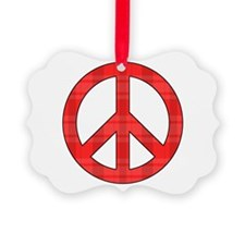Flannel Peace Sign Ornament