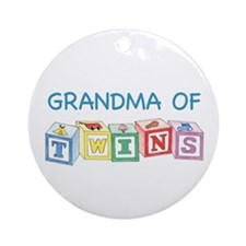 Grandma of Twins Blocks Ornament (Round)