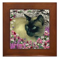 Stella Siamese Cat Flowers Framed Tile