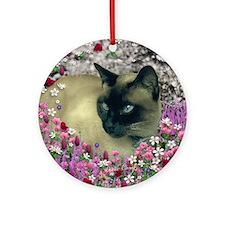 Stella Siamese Cat Flowers Ornament (Round)