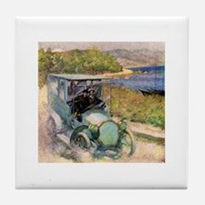 Antique Sunday Drive by the Sea Tile Coaster