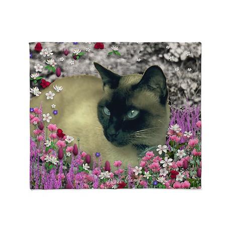 Stella Siamese Cat Flowers Throw Blanket