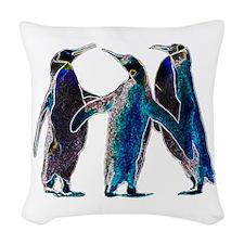 Neon Penguins Woven Throw Pillow
