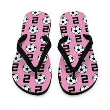 Soccer Ball Player Number 2 Flip Flops