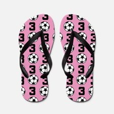 Soccer Ball Player Number 3 Flip Flops