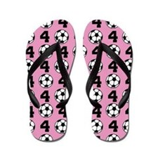 Soccer Ball Player Number 4 Flip Flops