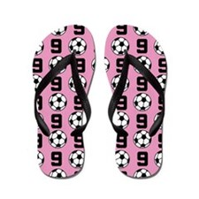 Soccer Ball Player Number 9 Flip Flops