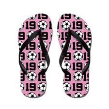 Soccer Ball Player Number 19 Flip Flops