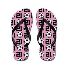 Soccer Ball Player Number 21 Flip Flops