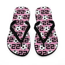 Soccer Ball Player Number 22 Flip Flops