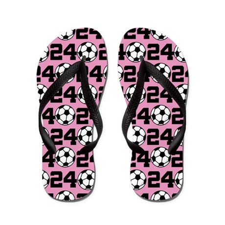 Soccer Ball Player Number 24 Flip Flops