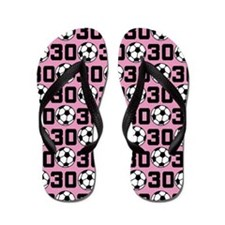Soccer Ball Player Number 30 Flip Flops