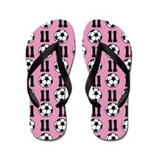 Soccer Ball Player Number 11 Flip Flops