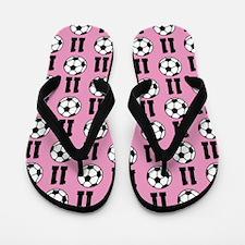 Soccer Ball Player Number 11 Flip Flops