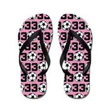 Soccer Ball Player Number 33 Flip Flops