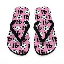 Soccer Ball Player Number 41 Flip Flops
